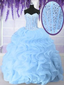 Light Blue Ball Gowns Sweetheart Sleeveless Organza Floor Length Lace Up Beading and Ruffles 15th Birthday Dress