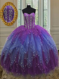 Amazing Multi-color Lace Up Sweetheart Beading and Ruffles and Sequins Sweet 16 Dresses Tulle Sleeveless