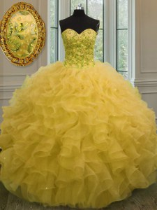 Latest Sweetheart Sleeveless Organza Vestidos de Quinceanera Beading and Ruffles Lace Up