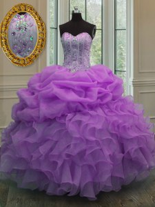 Beautiful Lilac Sweetheart Lace Up Beading and Pick Ups Sweet 16 Quinceanera Dress Sleeveless