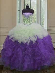 Gorgeous Strapless Sleeveless 15 Quinceanera Dress Floor Length Beading and Ruffles White And Purple Organza
