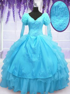 Fabulous Long Sleeves Embroidery Lace Up Ball Gown Prom Dress