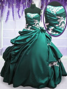 Most Popular Strapless Sleeveless Sweet 16 Dresses Floor Length Appliques and Pick Ups Turquoise Taffeta