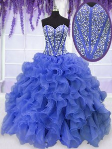 Royal Blue Ball Gowns Organza Sweetheart Sleeveless Beading and Ruffles Floor Length Lace Up Quinceanera Dress