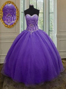 Floor Length Eggplant Purple Quinceanera Gown Sweetheart Sleeveless Lace Up
