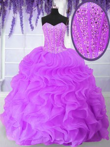 Dynamic Lilac Organza Lace Up Sweetheart Sleeveless Floor Length Quinceanera Gown Beading and Ruffles