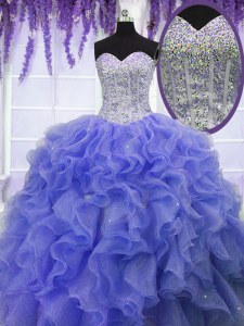 Sweet Sequins Floor Length Ball Gowns Sleeveless Purple Sweet 16 Quinceanera Dress Lace Up