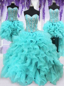 Four Piece Aqua Blue Organza Lace Up Sweet 16 Quinceanera Dress Sleeveless Floor Length Ruffles and Sequins