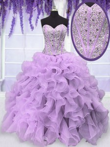 Best Floor Length Ball Gowns Sleeveless Lavender Sweet 16 Quinceanera Dress Lace Up