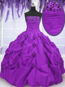 Eggplant Purple Ball Gowns Strapless Sleeveless Taffeta Floor Length Lace Up Embroidery and Pick Ups Quince Ball Gowns