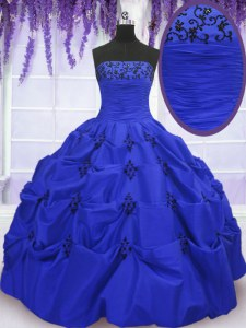Free and Easy Floor Length Lace Up Sweet 16 Dresses Royal Blue for Military Ball and Sweet 16 and Quinceanera with Embroidery and Pick Ups