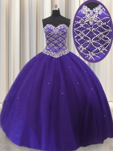 Top Selling Purple Lace Up Sweetheart Beading and Sequins 15 Quinceanera Dress Tulle Sleeveless