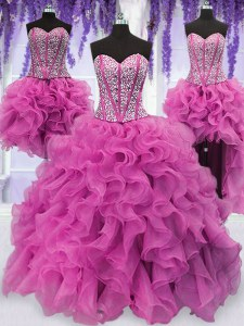 Four Piece Sleeveless Lace Up Floor Length Ruffles and Sequins Sweet 16 Quinceanera Dress