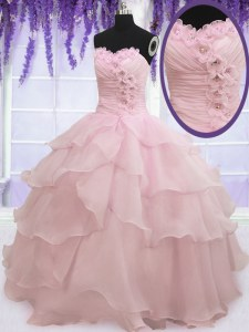 Ruffled Ball Gowns Vestidos de Quinceanera Baby Pink Sweetheart Organza Sleeveless Floor Length Lace Up