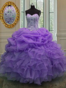 Adorable Organza Sleeveless Floor Length Vestidos de Quinceanera and Beading and Pick Ups