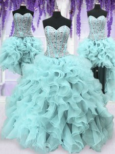 Stunning Four Piece Light Blue Sleeveless Floor Length Ruffles and Sequins Lace Up Sweet 16 Quinceanera Dress