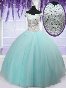 Customized Off the Shoulder Tulle Short Sleeves Floor Length Sweet 16 Quinceanera Dress and Beading