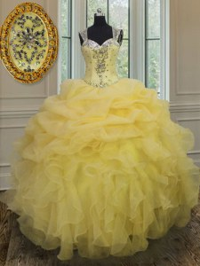 Straps Sleeveless Floor Length Beading and Ruffles Zipper Quinceanera Gown with Light Yellow