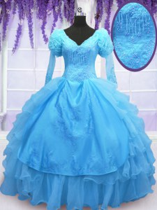 V-neck Long Sleeves Ball Gown Prom Dress Floor Length Beading and Embroidery and Hand Made Flower Baby Blue Organza