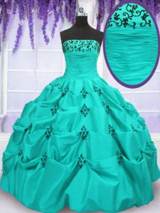 Pick Ups Mermaid Sweet 16 Quinceanera Dress Aqua Blue Strapless Taffeta Sleeveless Floor Length Lace Up