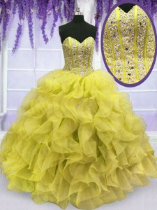 Sweetheart Sleeveless Quince Ball Gowns Floor Length Beading and Ruffles Yellow Organza