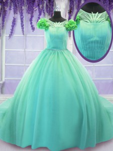 Classical Turquoise Ball Gowns Tulle Scoop Short Sleeves Hand Made Flower Lace Up Quinceanera Gowns Court Train
