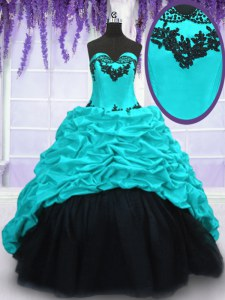 Beautiful Taffeta Sweetheart Sleeveless Sweep Train Lace Up Appliques and Pick Ups 15th Birthday Dress in Aqua Blue