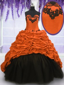 With Train Multi-color Quinceanera Dresses Taffeta Sweep Train Sleeveless Appliques and Pick Ups