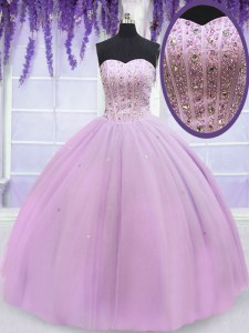 Luxury Sweetheart Sleeveless Lace Up Quinceanera Dress Lilac Tulle