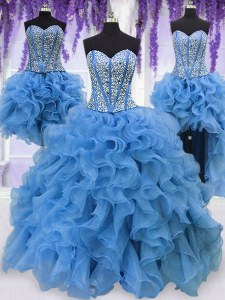 Four Piece Blue Ball Gowns Organza Sweetheart Sleeveless Ruffles and Sequins Floor Length Lace Up Sweet 16 Quinceanera Dress