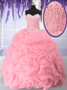 Eye-catching Beading and Ruffles Quinceanera Dress Pink Lace Up Sleeveless Floor Length