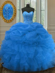 Luxury Pick Ups Blue Sleeveless Organza Lace Up Sweet 16 Dresses for Military Ball and Sweet 16 and Quinceanera