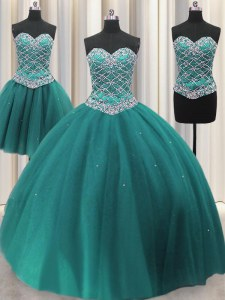 Inexpensive Three Piece Sequins Floor Length Ball Gowns Sleeveless Teal Sweet 16 Quinceanera Dress Lace Up