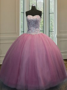 Hot Selling Floor Length Ball Gowns Sleeveless Baby Pink Vestidos de Quinceanera Lace Up