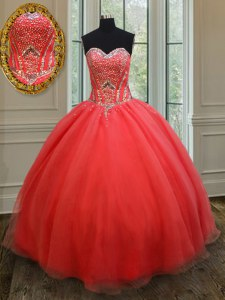 Sweetheart Sleeveless Quince Ball Gowns Floor Length Beading Coral Red Organza