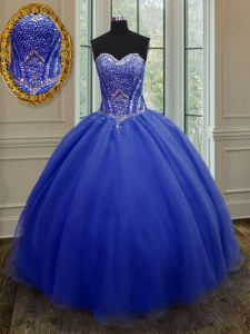 Royal Blue Quinceanera Dress Military Ball and Sweet 16 and Quinceanera and For with Beading and Belt Sweetheart Sleeveless Lace Up