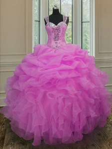 Straps Lilac Ball Gowns Beading and Ruffles Ball Gown Prom Dress Zipper Organza Sleeveless Floor Length