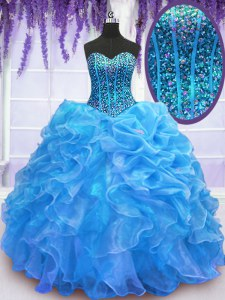 Sweet Blue Sleeveless Organza Lace Up Sweet 16 Quinceanera Dress for Military Ball and Sweet 16 and Quinceanera