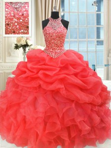Superior Sleeveless Lace Up Floor Length Beading and Pick Ups 15th Birthday Dress