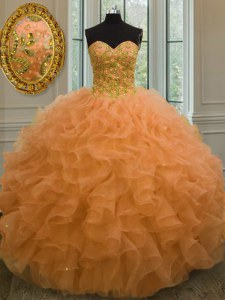Orange Sleeveless Floor Length Beading and Ruffles Lace Up Quinceanera Dress