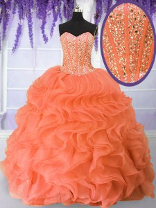 Stylish Orange Red Organza Lace Up Sweetheart Sleeveless Floor Length Sweet 16 Dress Beading and Ruffles
