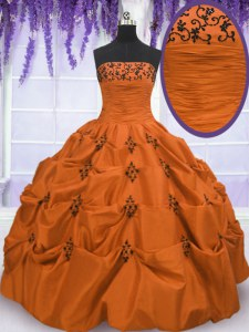 Sumptuous Taffeta Strapless Sleeveless Lace Up Embroidery and Pick Ups Sweet 16 Quinceanera Dress in Orange Red