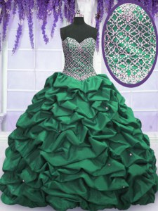 Sumptuous Dark Green Ball Gowns Beading and Sequins and Pick Ups 15th Birthday Dress Lace Up Taffeta Sleeveless Floor Length