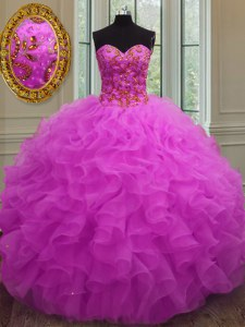 Shining Ball Gowns Quinceanera Gowns Fuchsia Sweetheart Organza Sleeveless Floor Length Lace Up