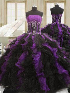 High Class Black And Purple Ball Gowns Strapless Sleeveless Organza Floor Length Lace Up Beading and Ruffles Sweet 16 Dress