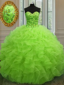 Yellow Green Ball Gowns Sweetheart Sleeveless Organza Floor Length Lace Up Beading and Ruffles Quinceanera Dress