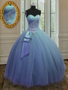 Unique Floor Length Blue Sweet 16 Quinceanera Dress Tulle and Sequined Sleeveless Beading and Ruching