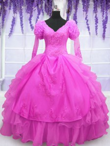 Discount Long Sleeves Floor Length Lace Up Quince Ball Gowns Hot Pink for Military Ball and Sweet 16 and Quinceanera with Beading and Embroidery and Hand Made Flower