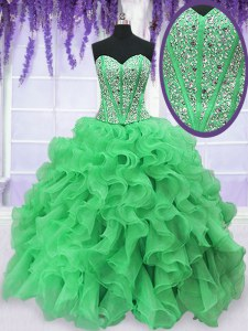 Simple Green Sweetheart Neckline Beading and Ruffles 15th Birthday Dress Sleeveless Lace Up