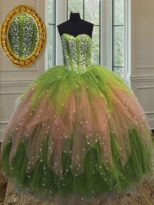 Multi-color Tulle Lace Up Sweet 16 Dress Sleeveless Floor Length Beading and Ruffles and Sequins